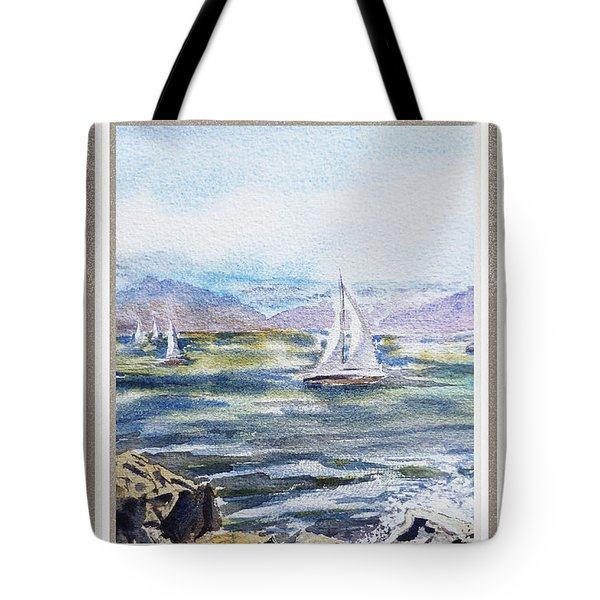 A Bay View Window Rough Waves Tote Bag