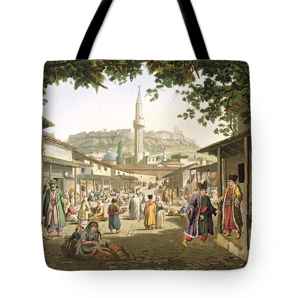 A Bazaar In Athens, Plate 1 From Part 1 Tote Bag