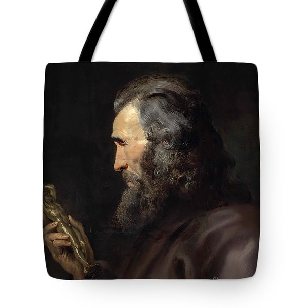 A Bearded Man In Profile Holding A Bronze Figure Tote Bag