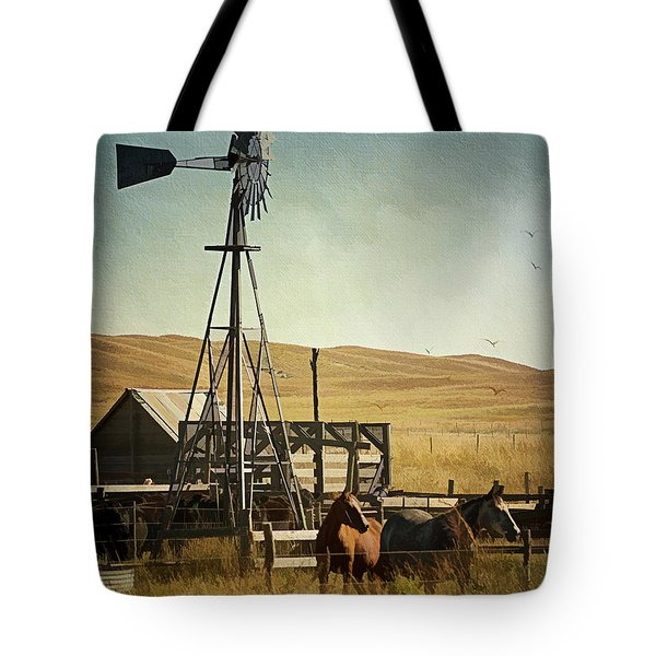 A Beautiful Nebraska Sandhills Farm Tote Bag by Priscilla Burgers