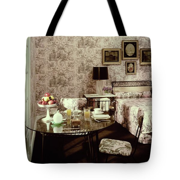 A Bedroom With Matching Wallpaper Tote Bag