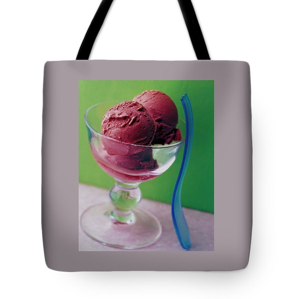 A Berry Sorbet In A Glass Cup Tote Bag