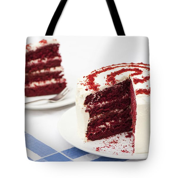 A Big Red Cake Tote Bag by Anne Gilbert