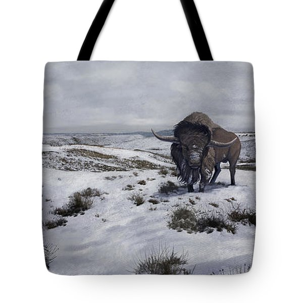 A Bison Latifrons In A Winter Landscape Tote Bag by Roman Garcia Mora