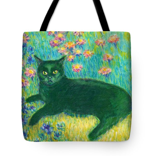 A Black Cat On Floral Mat Tote Bag