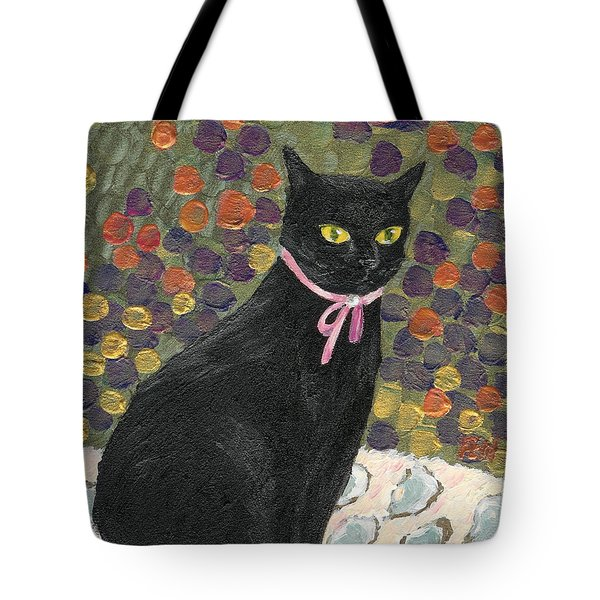 A Black Cat On Oyster Mat Tote Bag by Jingfen Hwu