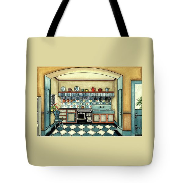 A Blue Kitchen With A Tiled Floor Tote Bag