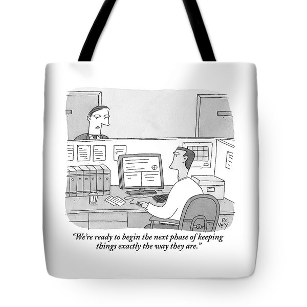 A Boss Speaks To His Employee Who Is Working Tote Bag