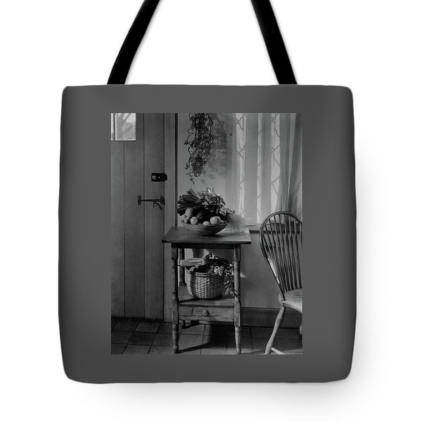 A Bowl Of Vegetables On A Table Tote Bag