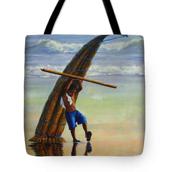 A Boy And His Caballito De Totora Tote Bag