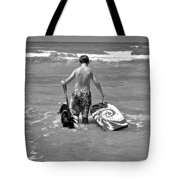 A Boy And His Dog Go Surfing Tote Bag by Kristina Deane