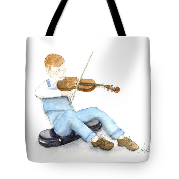 A Boy And His Violin Tote Bag by Ann Michelle Swadener