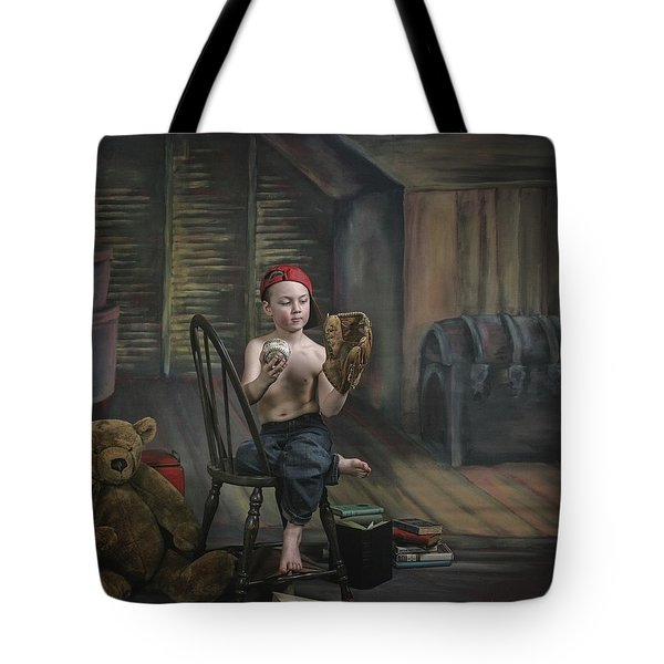 A Boy In The Attic With Old Relics Tote Bag by Pete Stec