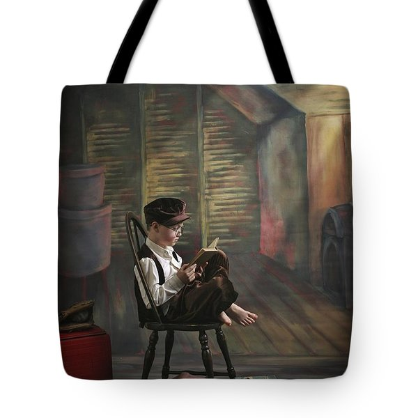 A Boy Posed Reading Old Books Victoria Tote Bag by Pete Stec