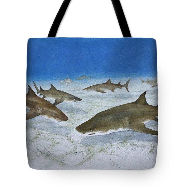 A Bushel Of Lemon Sharks Tote Bag by Jeff Lucas