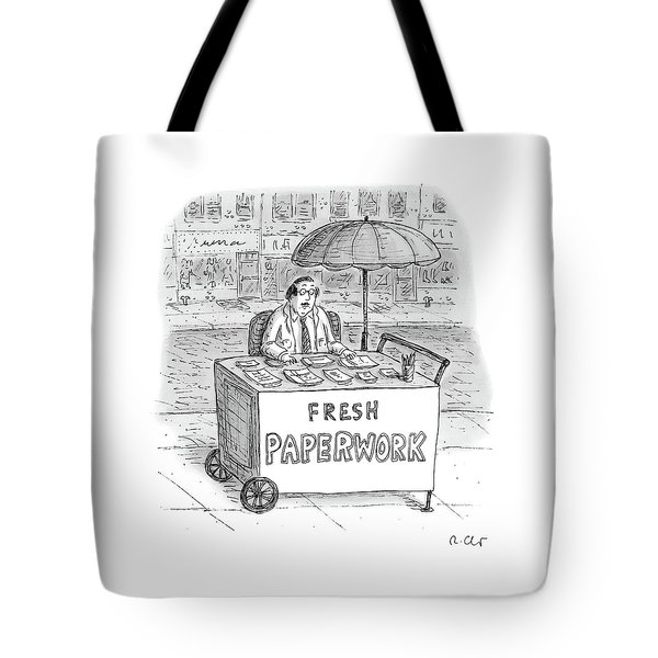 A Businessman Sits Behind A Food Cart/desk Tote Bag