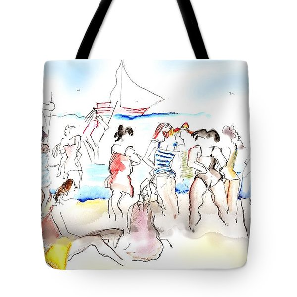 A Busy Day At The Beach Tote Bag by Carolyn Weltman