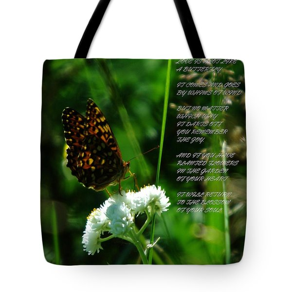 A Butterfly Poem About Love Tote Bag by Jeff Swan