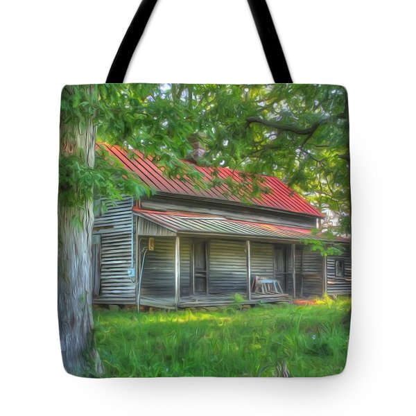 A Cabin In The Woods Tote Bag by Dan Stone