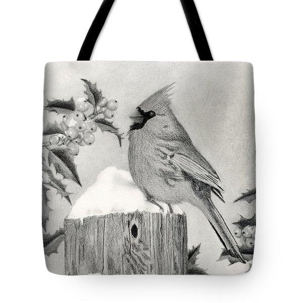 Cardinal And Holly Tote Bag