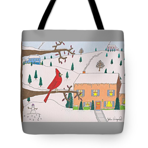 Tote Bag featuring the drawing A Cardinal Christmas by John Wiegand