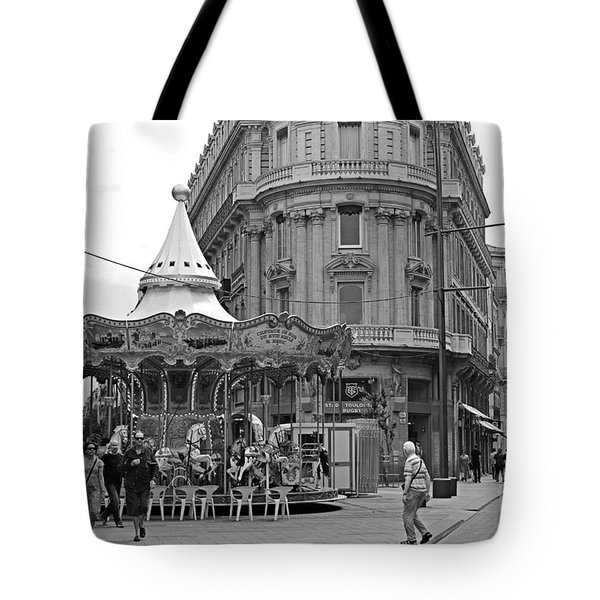 Tote Bag featuring the photograph A Carousel by Cendrine Marrouat