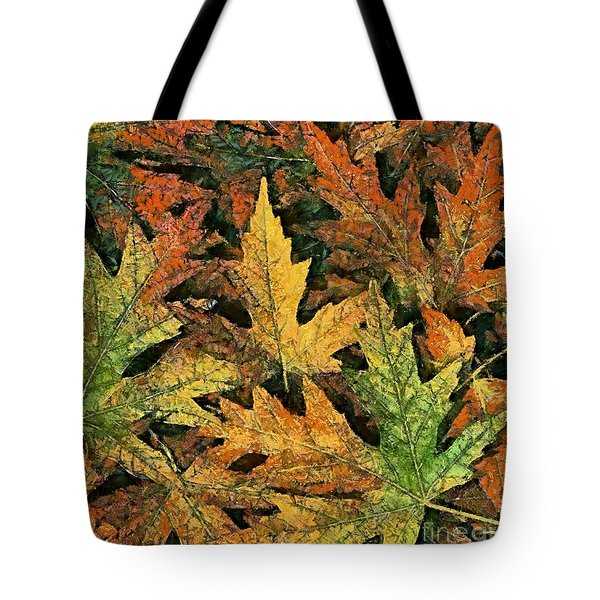 Tote Bag featuring the painting A Carpet Of  Falling Leaves by Dragica  Micki Fortuna