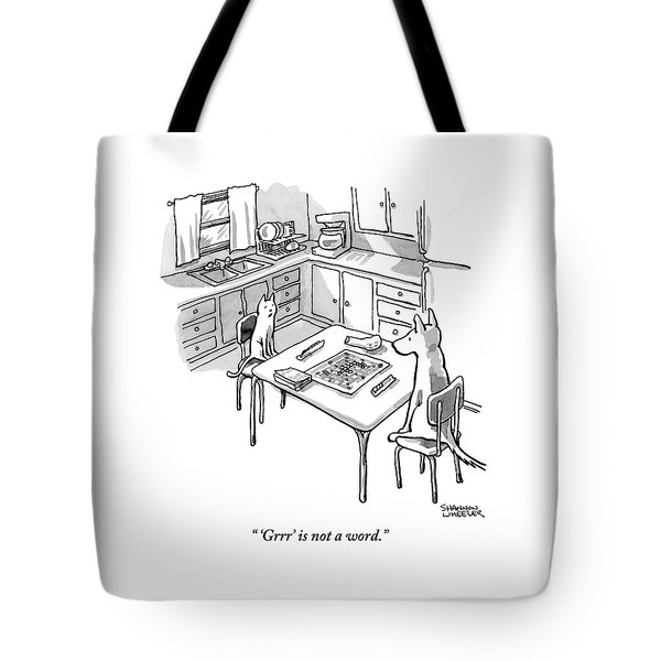 A Cat And Dog Play Scrabble In A Kitchen. 'grrr' Tote Bag
