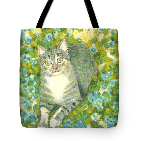 A Cat And Flowers Tote Bag by Jingfen Hwu