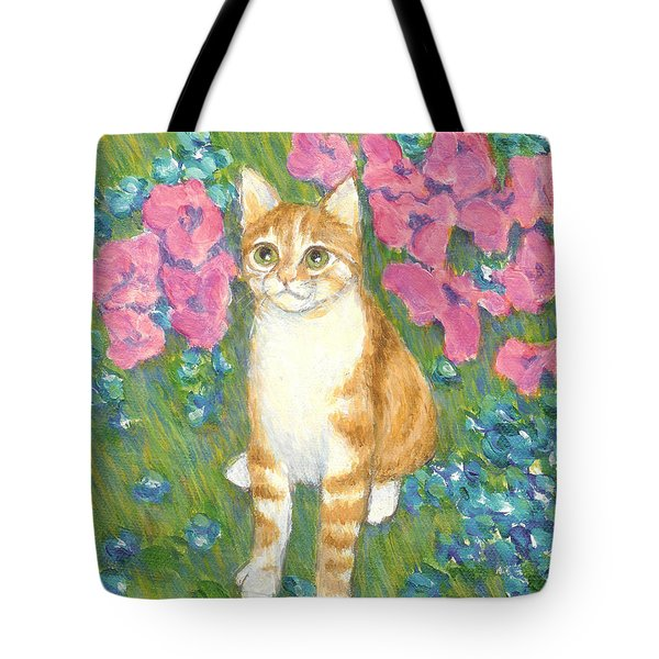 A Cat And Meadow Flowers Tote Bag by Jingfen Hwu