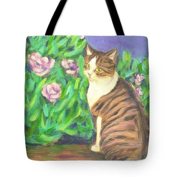 A Cat At A Garden Tote Bag