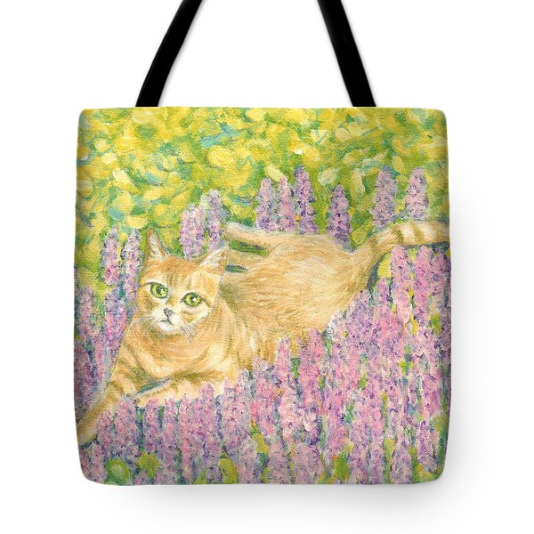 A Cat Lying On Floral Mat Tote Bag