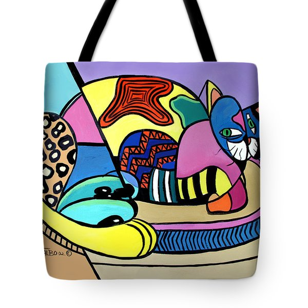 Tote Bag featuring the painting A Cat Named Picasso by Anthony Falbo