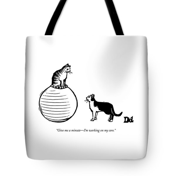 A Cat Stands On A Large Exercise Ball Tote Bag