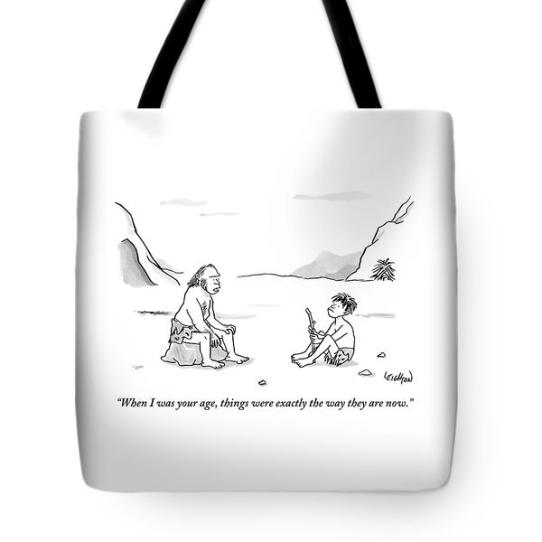 A Cave Dweller Speaks To His Son Who Is Holding Tote Bag
