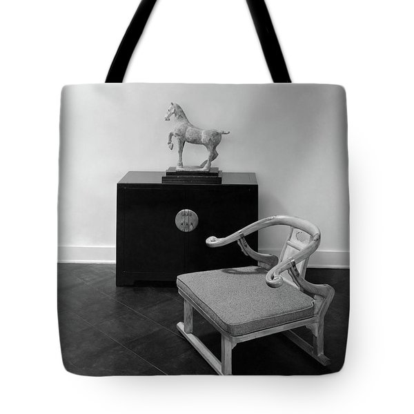 A Chair, Bedside Cabinet And Sculpture Of A Horse Tote Bag
