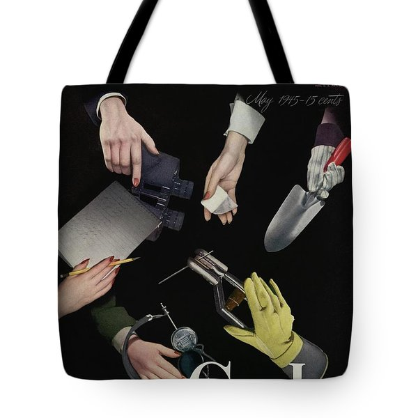 A Charm Cover Of Women's Hands Reaching For Tools Tote Bag