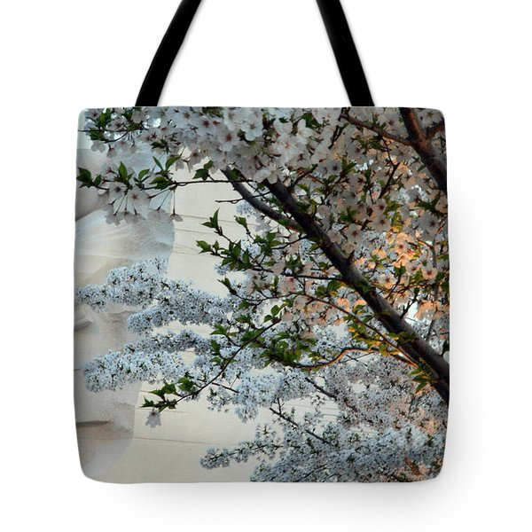 Tote Bag featuring the photograph A Cherry Blossomed Martin Luther King by Cora Wandel