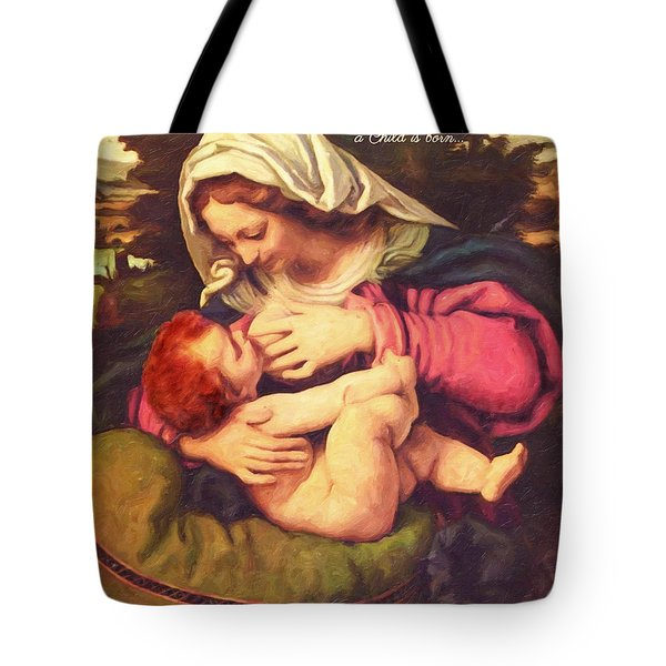 Tote Bag featuring the digital art A Child Is Born by Lianne Schneider