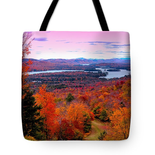 A Chilly Autumn Day On Mccauley Mountain Tote Bag