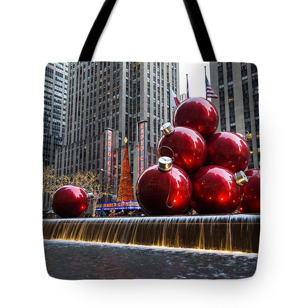 A Christmas Card From New York City - Radio City Music Hall And The Giant Red Balls Tote Bag
