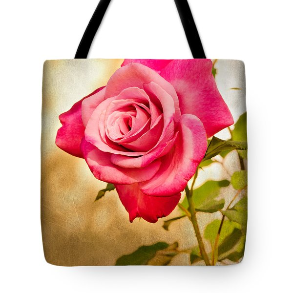 Tote Bag featuring the photograph A Classic Pink Rose by MaryJane Armstrong