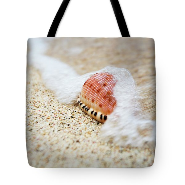 A Close Up Of A Cowry Shell Tote Bag