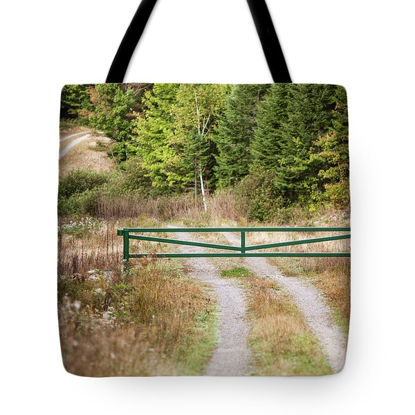 A Closed Gate On Dirt Road In Northern Tote Bag