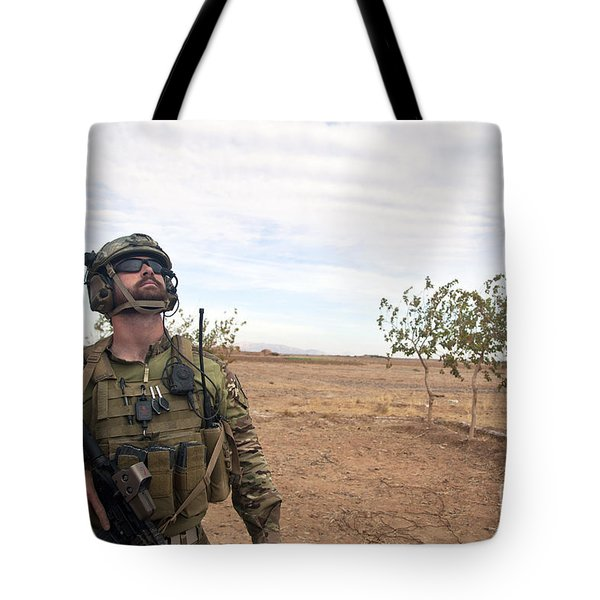 A Coalition Force Member Looks For Air Tote Bag by Stocktrek Images