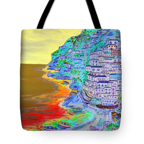 A Coastal View Of Positano Tote Bag