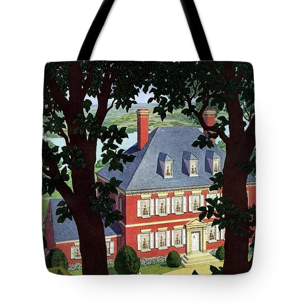 A Colonial Manor House Tote Bag