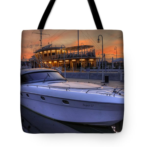 Tote Bag featuring the photograph A Cool Motorboat Yacht In Sopot Marina by Julis Simo