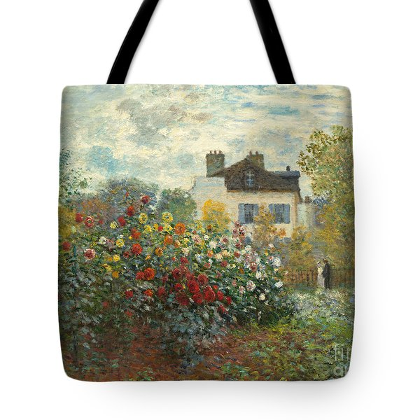 A Corner Of The Garden With Dahlias Tote Bag