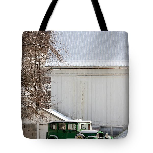 A Country Landscape With Classic Car Tote Bag